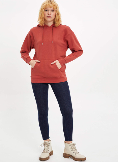 DeFacto Kapüşonlu Regular Fit Sweatshirt Oranj